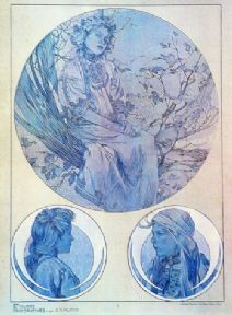 Vintage art deco poster - circular images